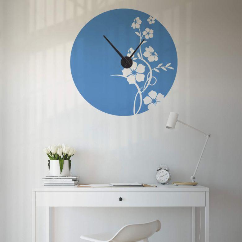 Adesivo murale - orologio fiori di giada