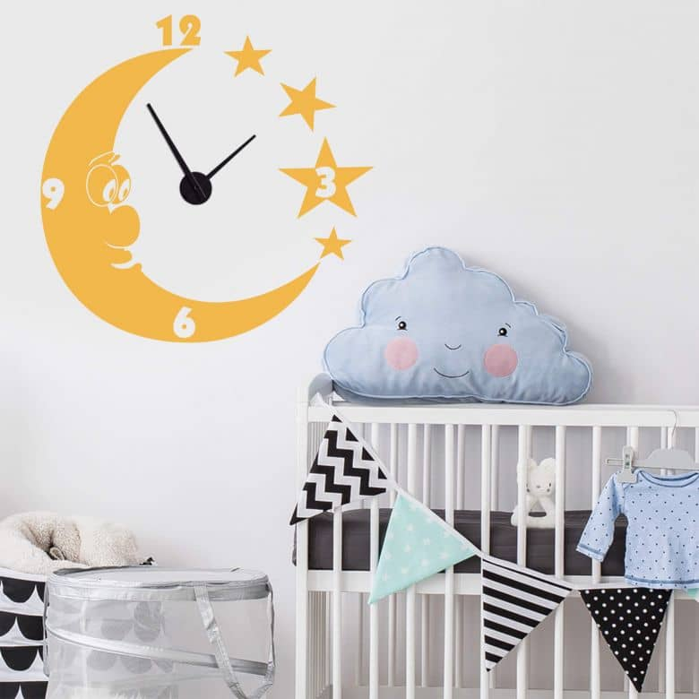 Moon & Stars Wall sticker + Clock
