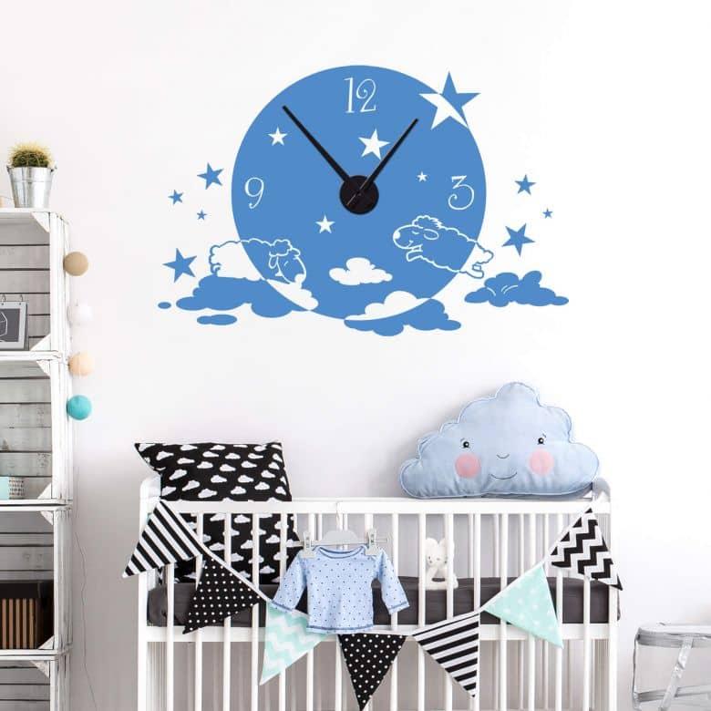 Sticker mural - Horloge Les brebis sur les nuages