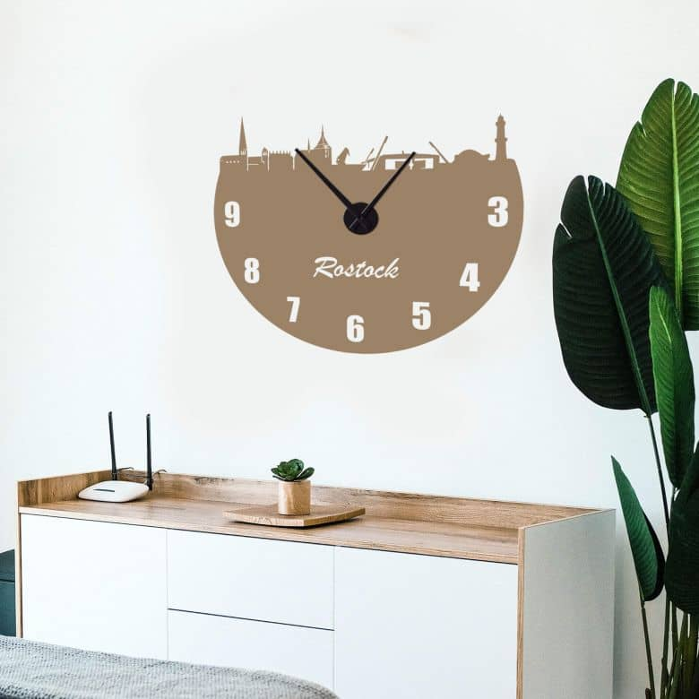 Rostock Skyline Wall sticker + Clock