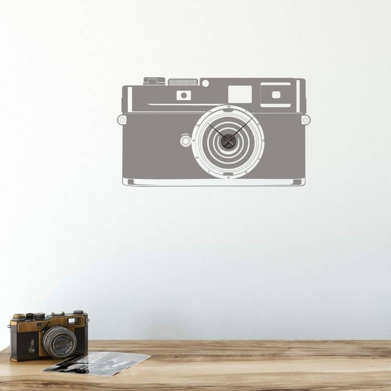 Sticker mural - Horloge Appareil photo