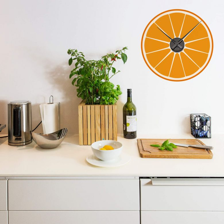 Orange Wall sticker + Clock