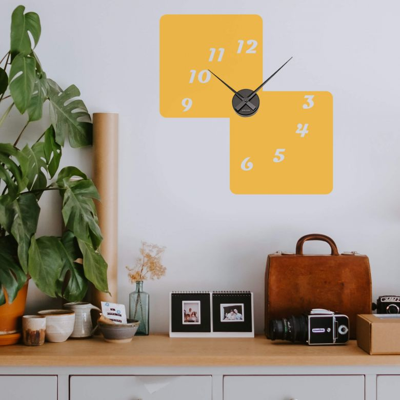 Adesivo murale - orologio quadrati retro 3