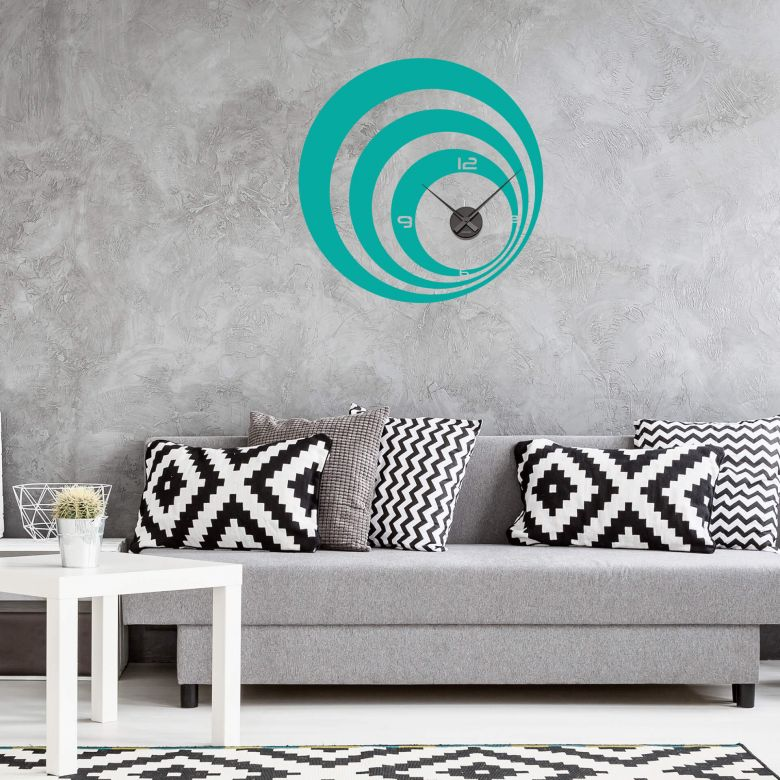 Retro Circles Wall sticker + Clock