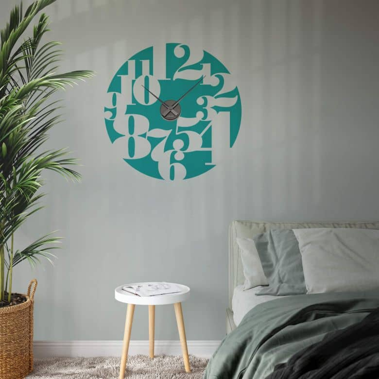 Typography Negative Wall sticker + Clock