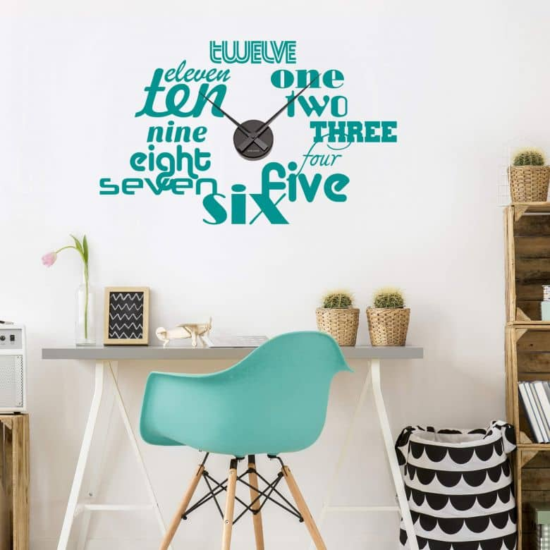 Clock Typographic Wall sticker + Clock