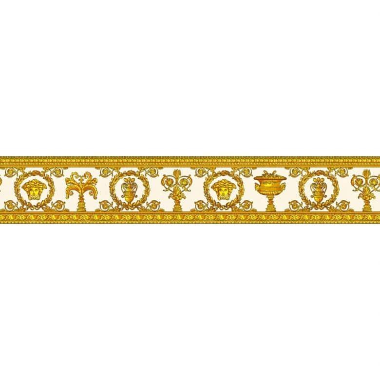 Versace wallpaper border Vanitas yellow, metallic, orange