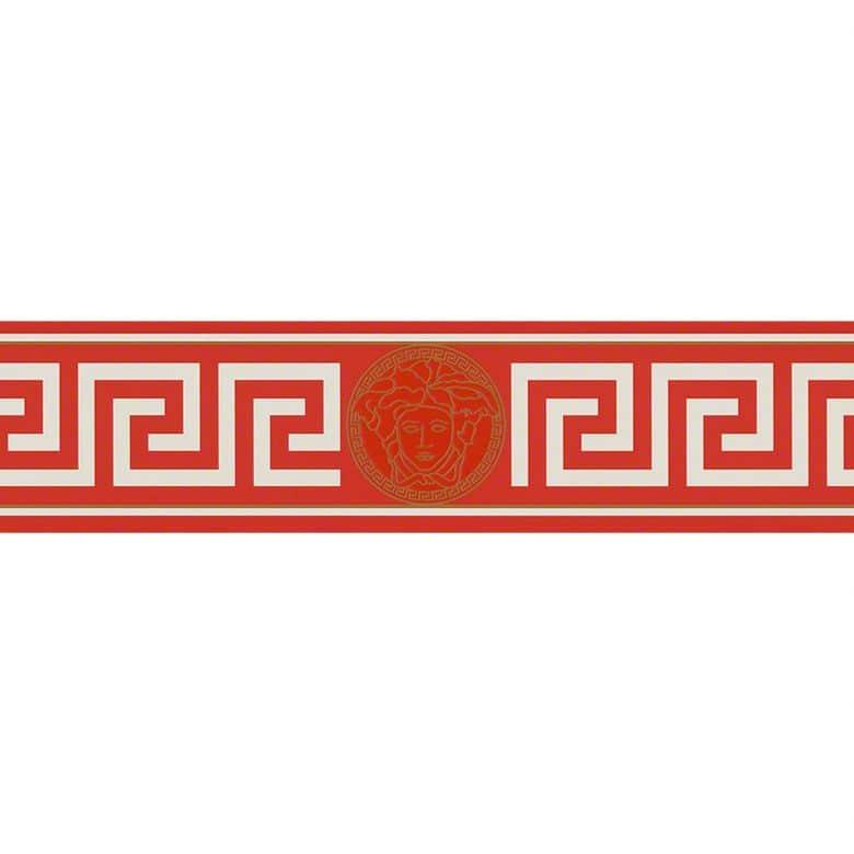 Versace Wallpaper Bordüre Greek Metallic, Rot, Weiß