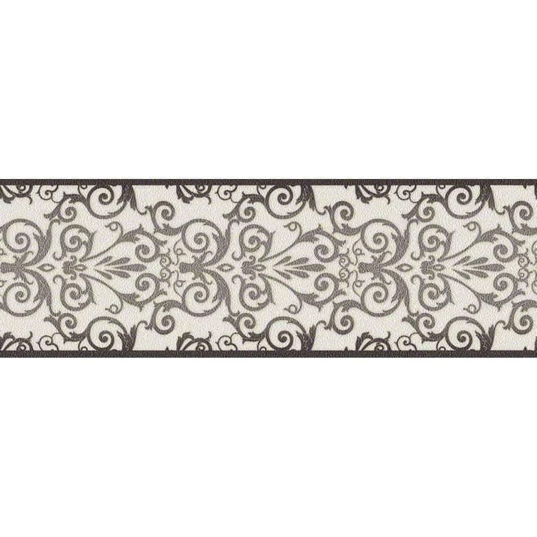 Versace wallpaper border Herald metallic, black, white