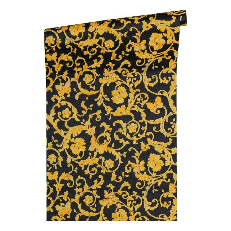 Versace wallpaper Vliestapete Butterfly Barocco Barocktapete mit Ornamenten gold, schwarz, gelb
