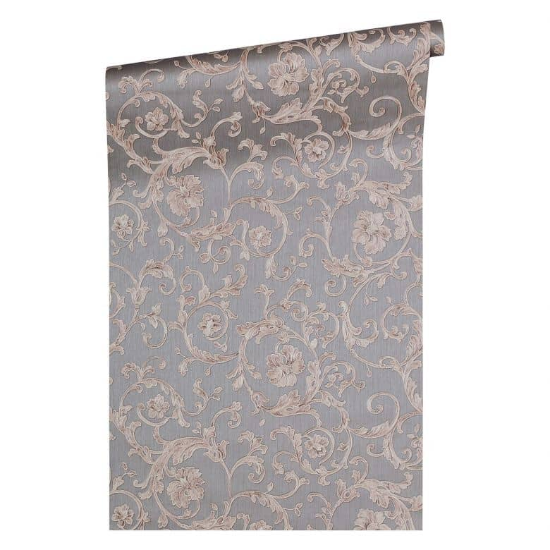 Versace wallpaper Tapete Butterfly Barocco grau, metallic, lila