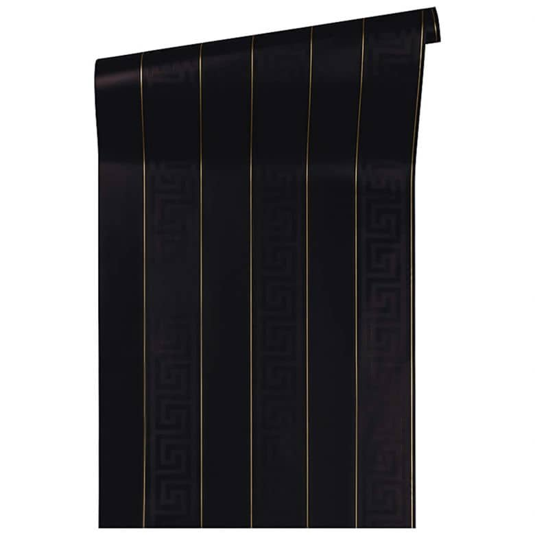 Versace wallpaper Tapete Greek metallic, schwarz