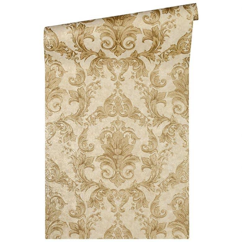 Versace wallpaper Mustertapete Tapete Pompei Braun, Gelb, Metallic