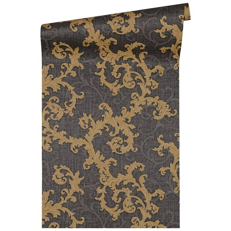 Versace wallpaper Vliestapete Baroque & Roll Barocktapete mit Ornamenten schwarz, gold, grau