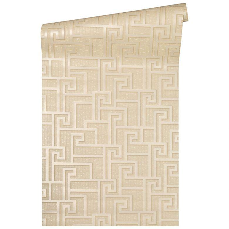 Versace wallpaper non-woven wallpaper Greek beige, cream, metallic