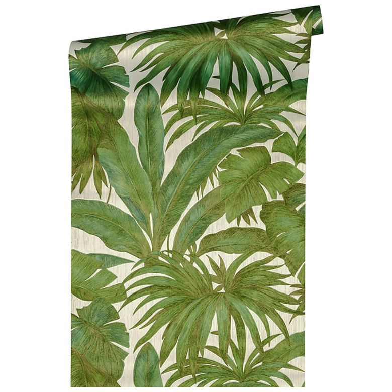 Versace wallpaper Vliestapete Giungla Palmentapete grün, beige, bronze