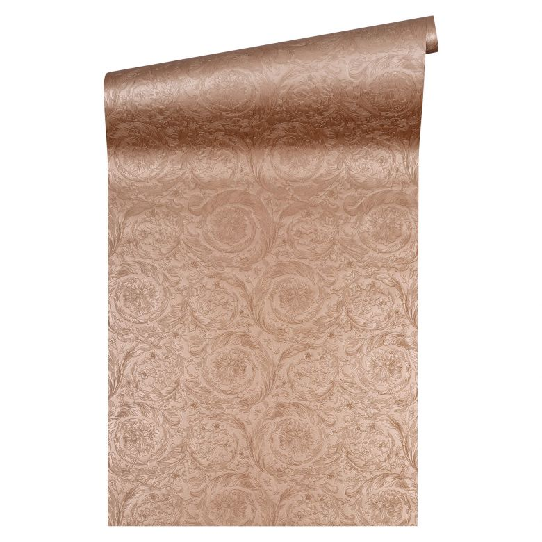Versace wallpaper Vliestapete Barocco Metallics Barocktapete mit Ornamenten kupfer