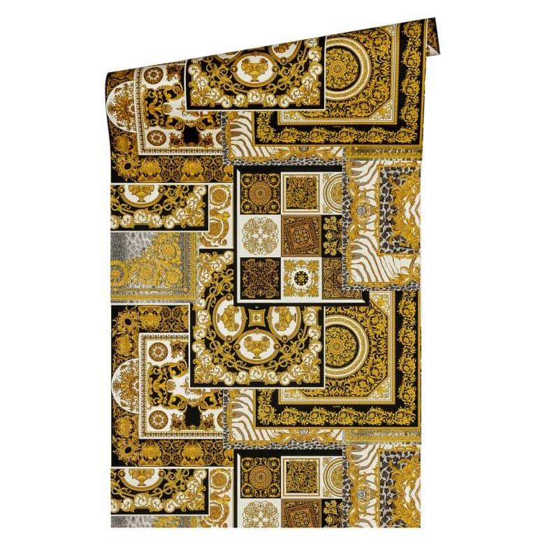 Versace wallpaper Vliestapete Decoupage Barocktapete mit Ornamenten gold, silber, schwarz