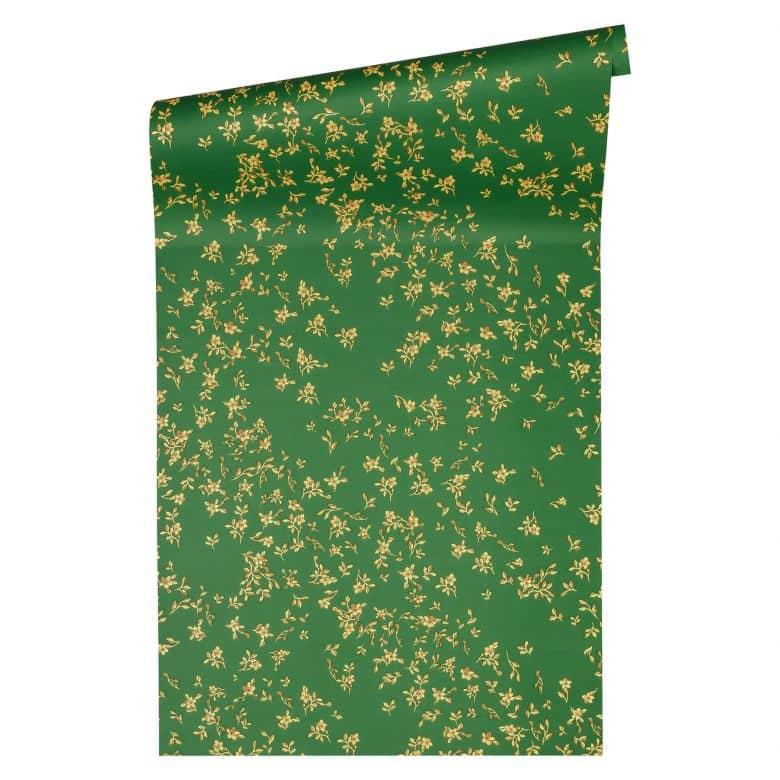 Versace wallpaper Vliestapete Barocco Birds Blumentapete floral grün, gold, gelb