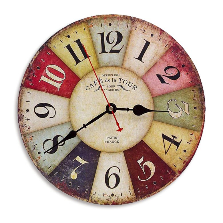 Vintage wooden wall clock in retro-look colorful Ø40 cm