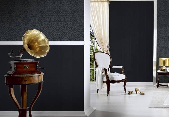 Architects Paper pattern wallpaper textile wallpaper Tessuto 2 Black