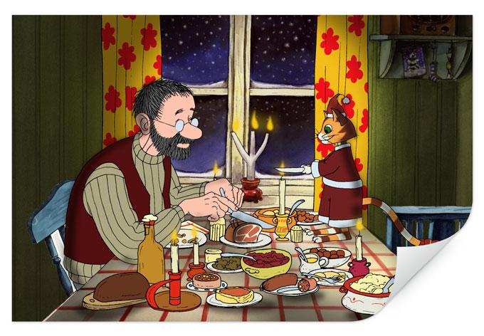 Wallprint W - Pettersson und Findus - Abendmahl bei Kerzenlicht