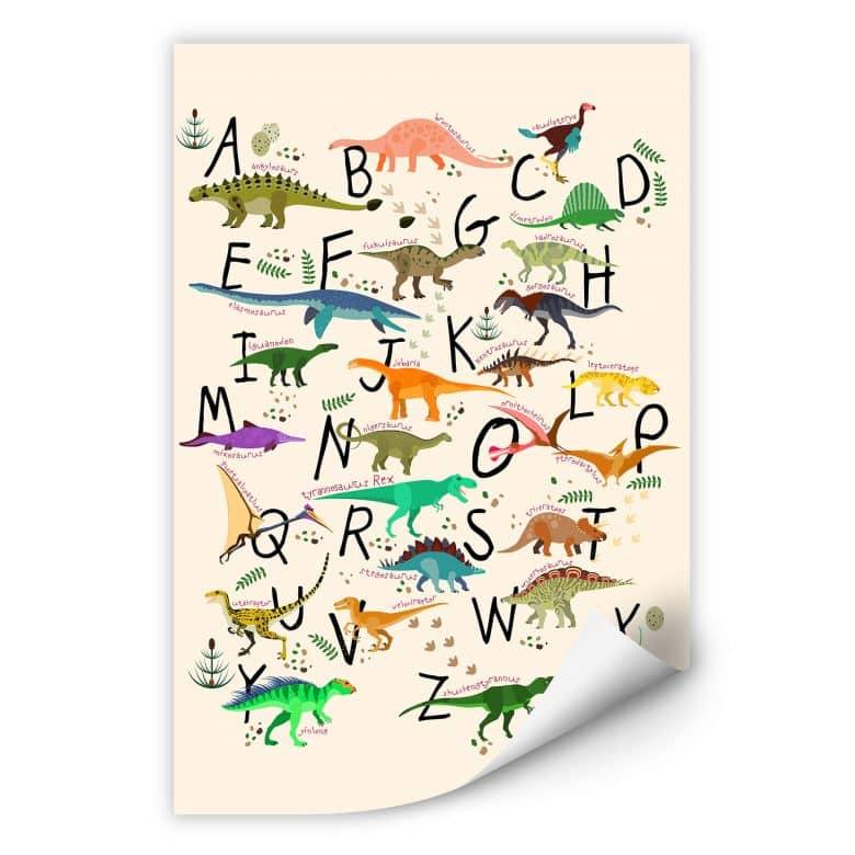 Zelfklevende Poster Dinosaurus Alfabet