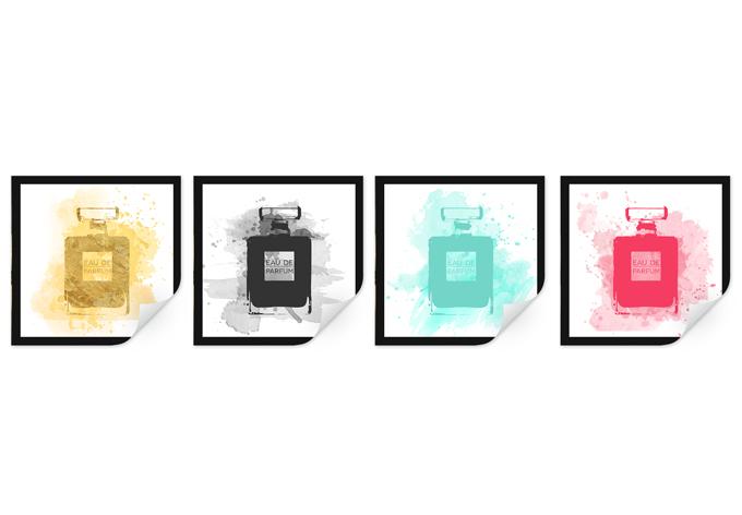 Wallprint W - Eau de Parfum Aquarell Bunt (4-teilig)