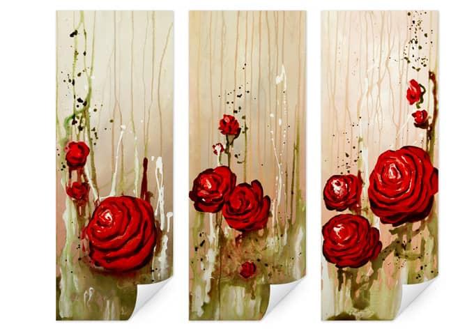 Wallprint W - Fedrau - Roses (3-teilig)