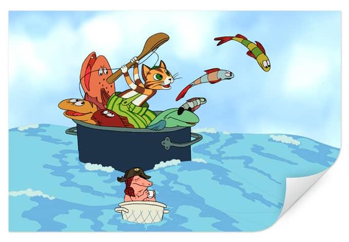 Wallprint W - Pettersson und Findus - Fischjagd mit Freunden