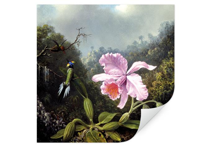 Wallprint Heade - Stillleben mit Orchidee und Kolibris