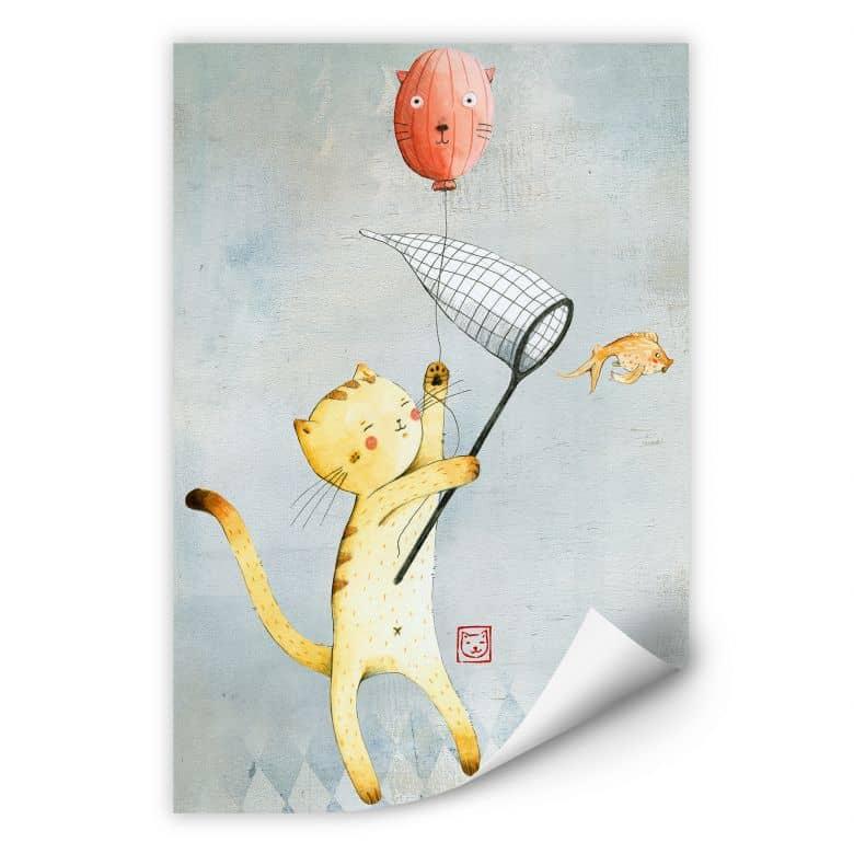Wallprint Loske - Katze mit Ballon