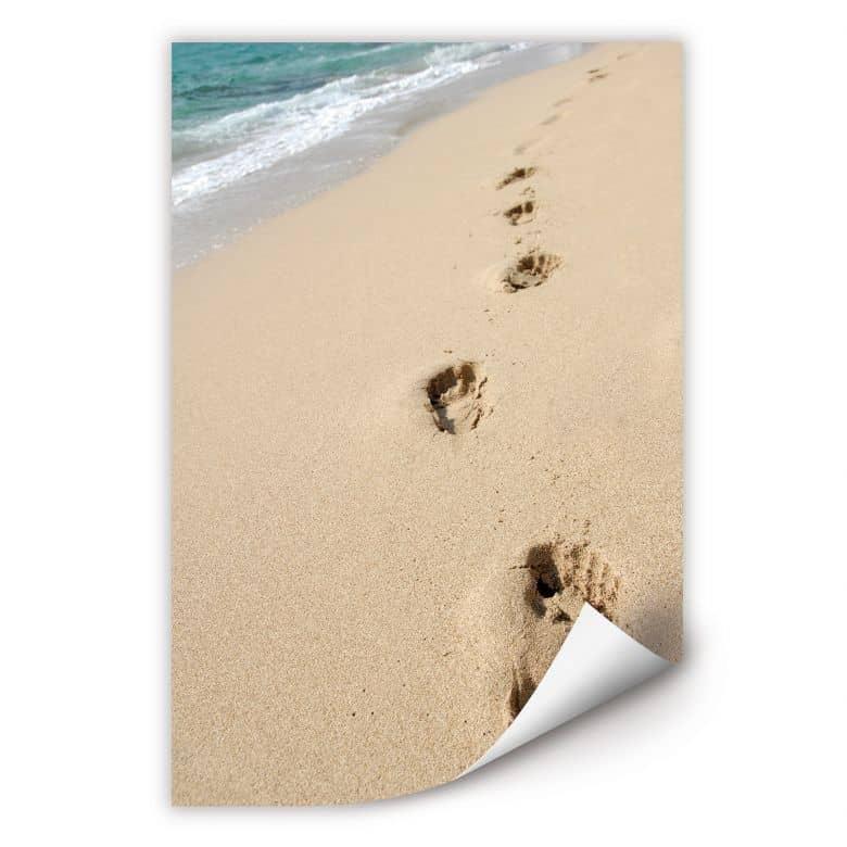 Wallprint W - Fußspuren im Sand