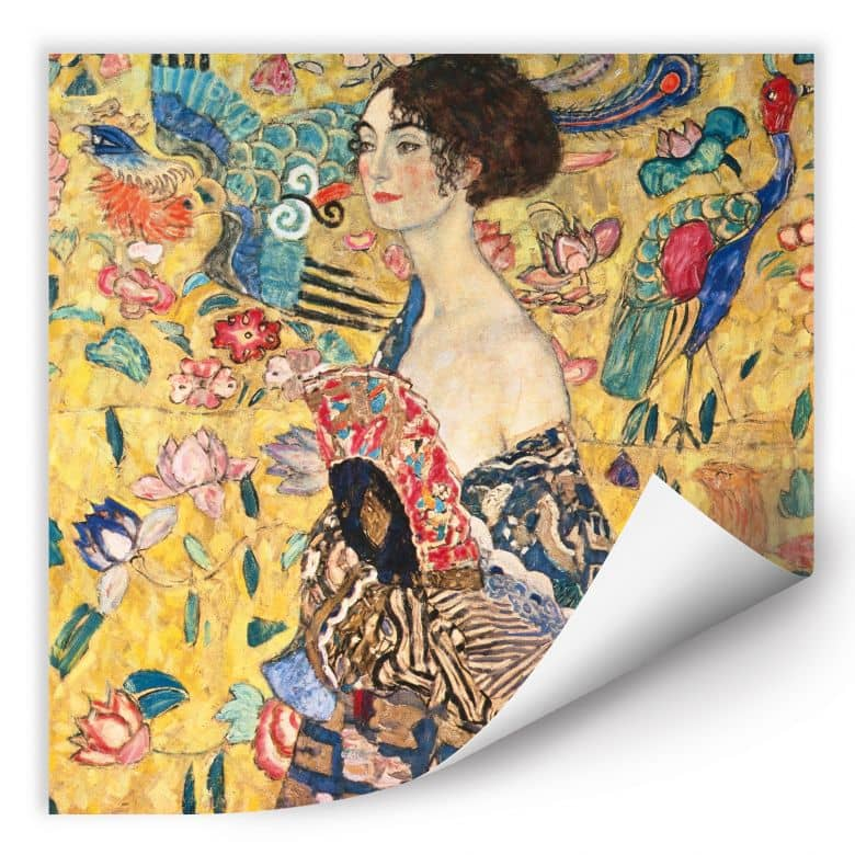 Wallprint W - Klimt - Dame mit Fächer