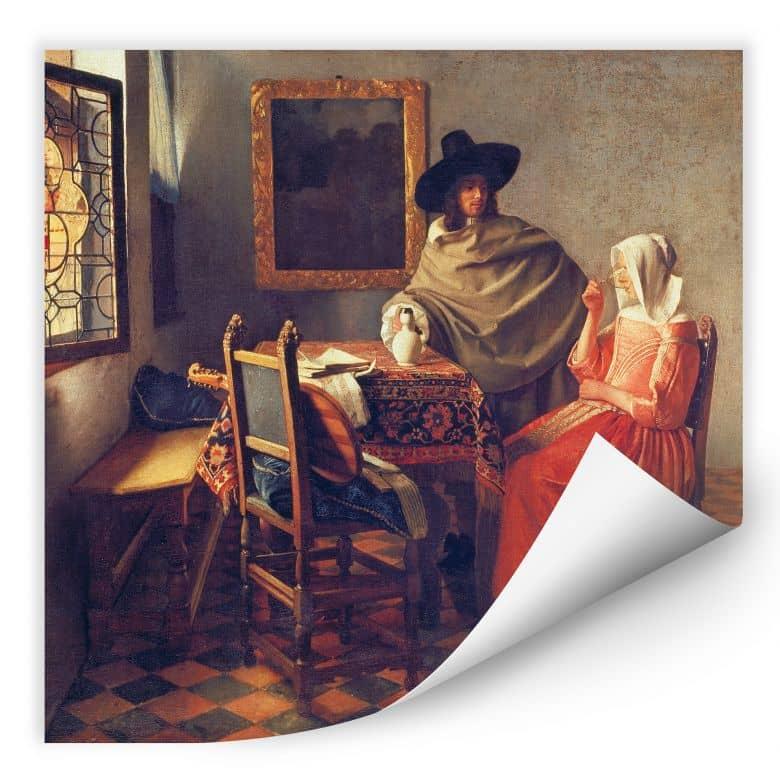 Wallprint Vermeer - Das Glas Wein