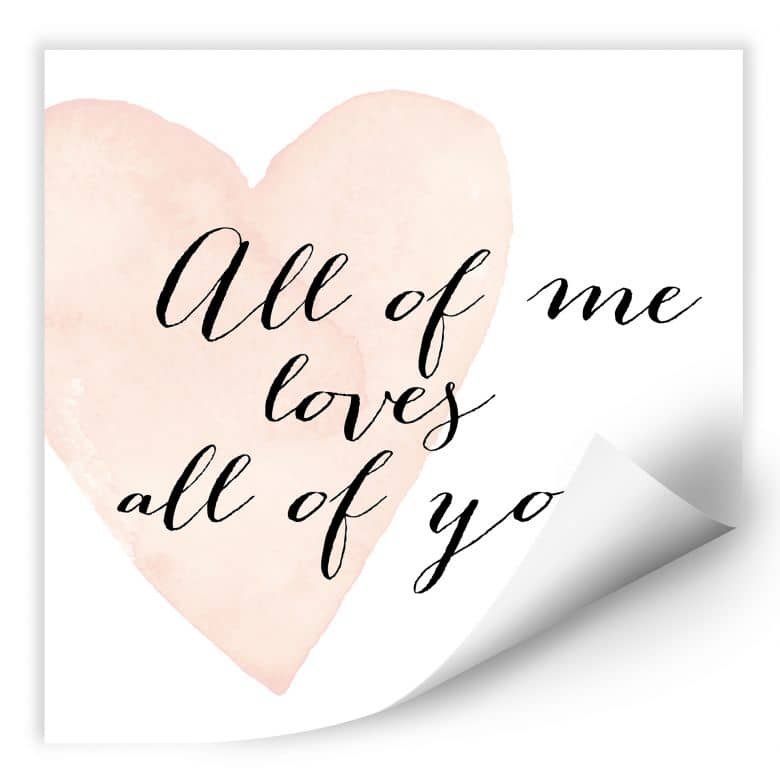 Wallprint Confetti & Cream - All of me loves all of you