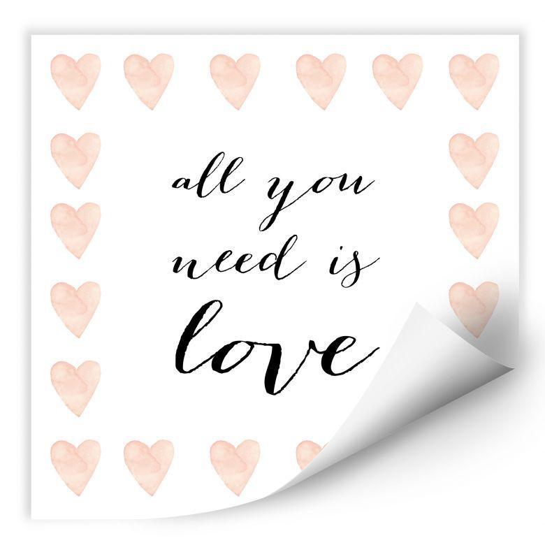 Wallprint Confetti & Cream - All you need is love