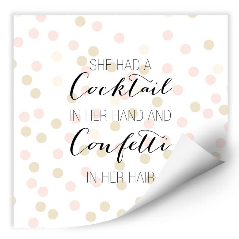 Wallprint Confetti & Cream - Cocktail in her Hand and Confetti in hair