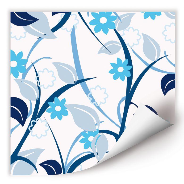 Wallprint W - Blumengarten blau