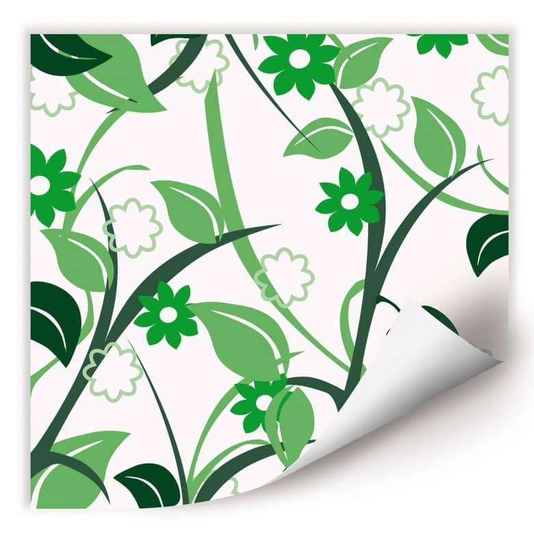 Wallprint W - Blumengarten grün