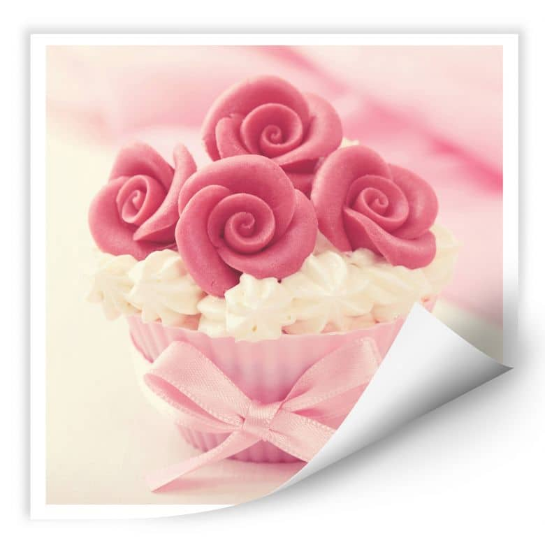Wallprint W - Roses on Cupcake - quadratisch