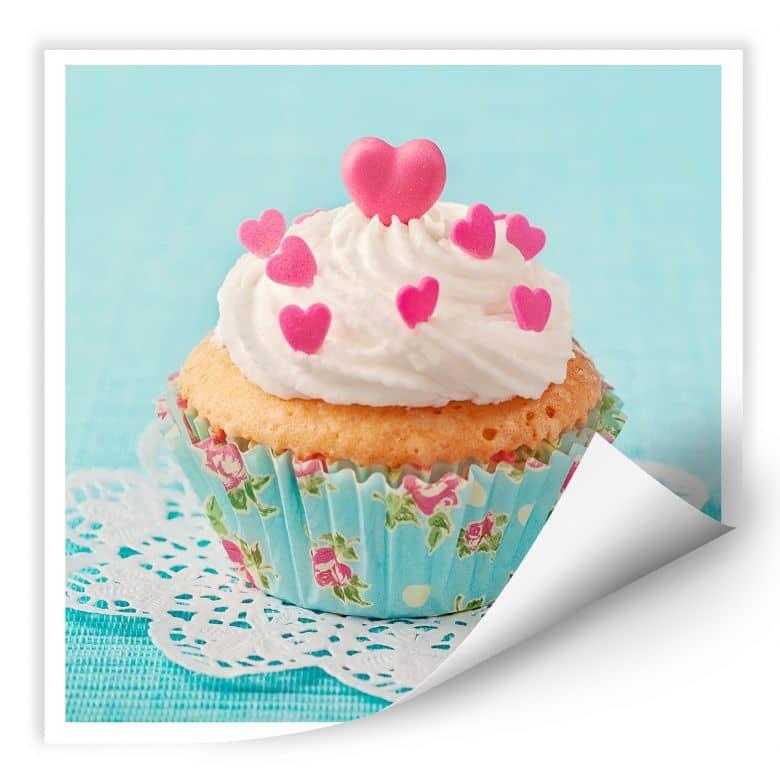 Wallprint W - Hearts on Cupcake - quadratisch