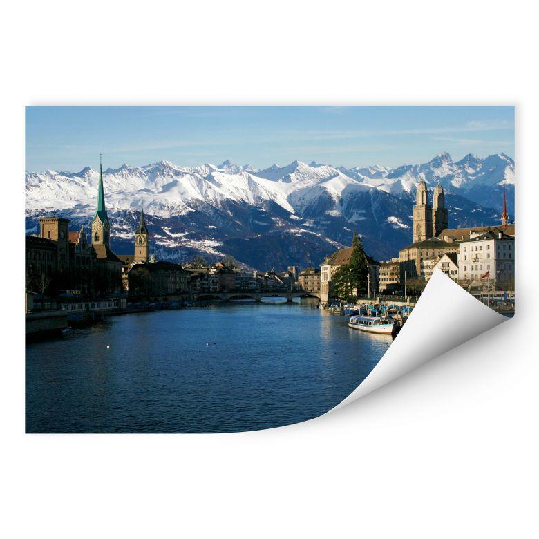 Wallprint Zürichsee mit Alpen
