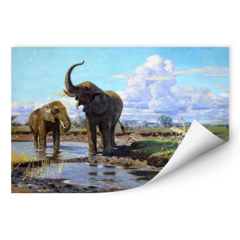 Wallprint W - Kuhnert - Elefanten an der Wasserstelle