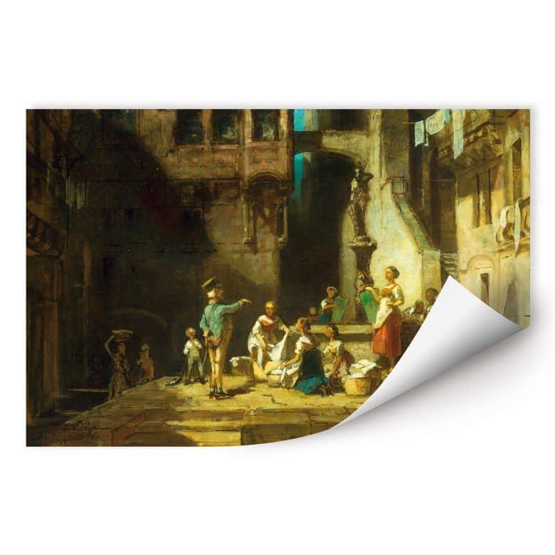 Wallprint W - Spitzweg - Wäscherinnen am Brunnen