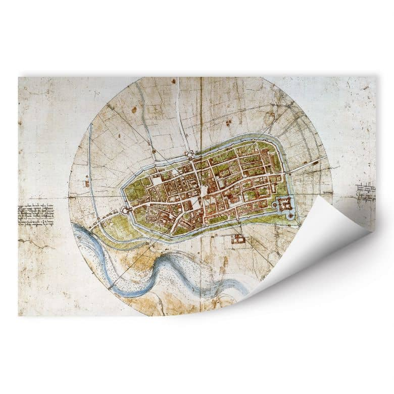 Wallprint W - Da Vinci - Stadtplan von Imola