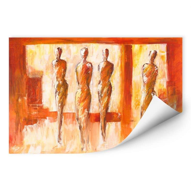 Wallprint W - Schüßler - Vier Figuren in Orange