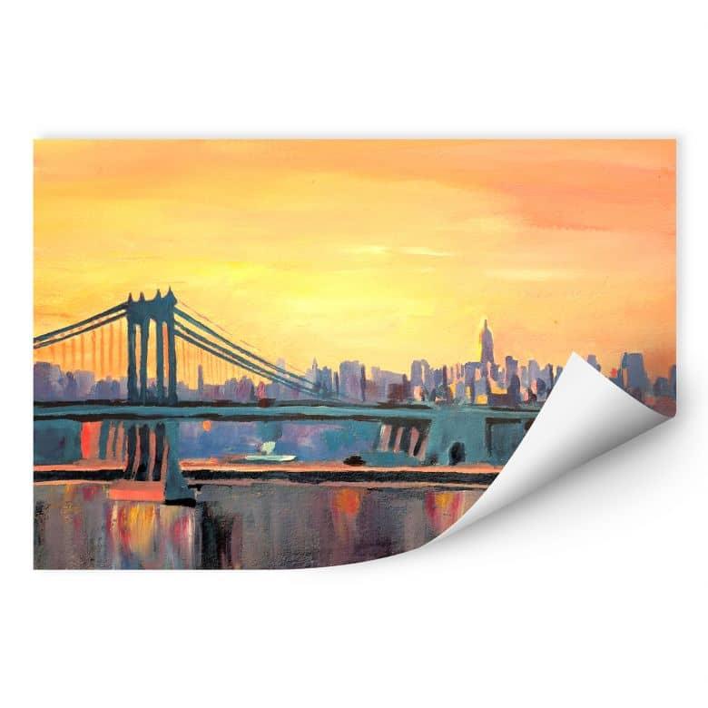 Wallprint Bleichner - Blue Manhattan Skyline withBridge and Vanilla Sky