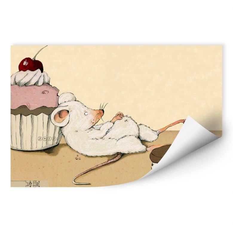 Wallprint Loske - Maus mit Muffin