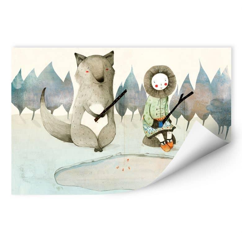 Wallprint Loske - Das kleine Inuitmädchen und der Wolf